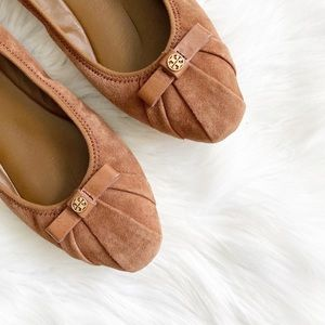 Tory Burch Ally Bow Suede Leather Flats